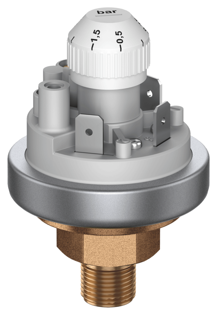 Pressure switch 901 Prescal® adjustable with brass pressure connection