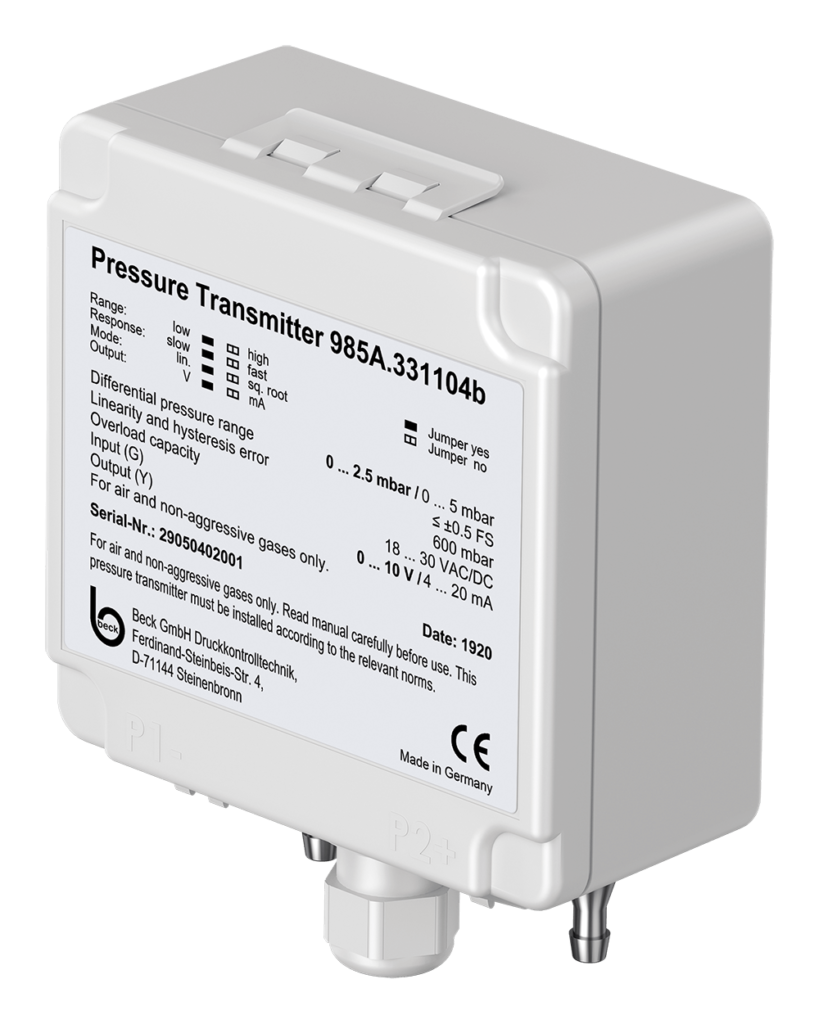 Differential Pressure Transmitter 985A with automatic offset calibration